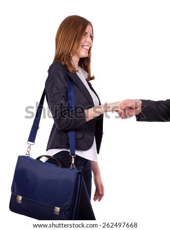 Portrait of charismatic female business person. Image of beautiful and energetic female, smart casual style dressed, shaking hand of counterpart and carrying blue business style bag on her shoulder.  - stock photo