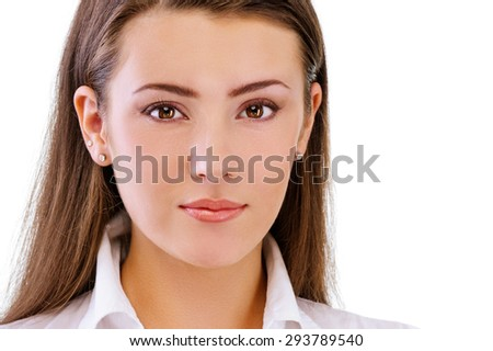 Portrait of charming brunette, isolated on white background. - stock photo