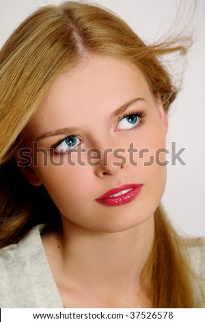Portrait of charming girl, motion style