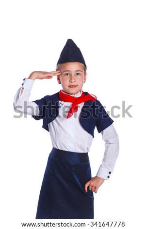 Portrait of Charming Little Stewardess Dressed In Blue Uniform. Isolated On White Background