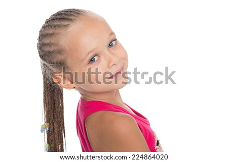 Portrait of charming pretty little girl with dreadlocks. Girl six years. - stock photo