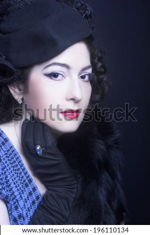 Portrait of charming woman in retro image. - stock photo
