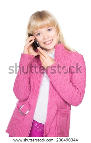 Portrait of cheerful blond girl talking on the phone. Isolated on white - stock photo