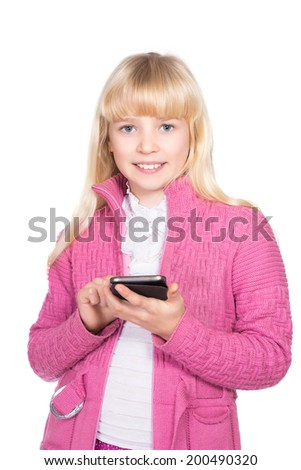 Portrait of cheerful blond girl with smartphone. Isolated on white - stock photo