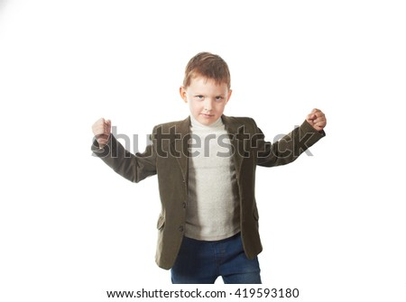 Portrait of cheerful boy with raised hands over isolated white background - stock photo