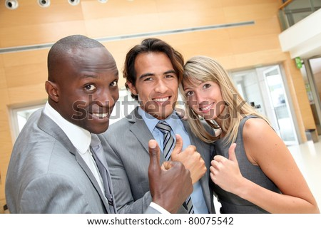 Portrait of cheerful business team - stock photo