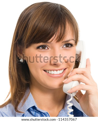 Portrait of cheerful business woman with phone, isolated over white background
