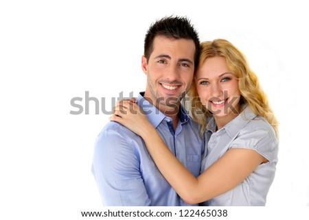 Portrait of cheerful couple on white background - stock photo
