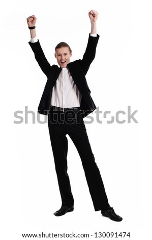 Portrait of cheerful entrepreneur celebrating his success. White background - stock photo