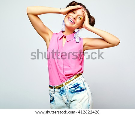 Portrait Cheerful Fashion Hipster Girl Casual Stock Photo ...