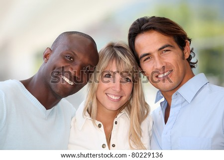 Portrait of cheerful group of friends - stock photo