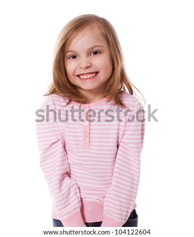 portrait of cheerful  Little Girl isolated on white