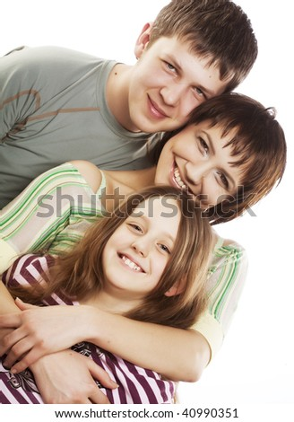 Portrait of cheerful parents with their daughter  on a white background