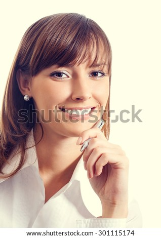 Portrait of cheerful smiling businesswoman - stock photo