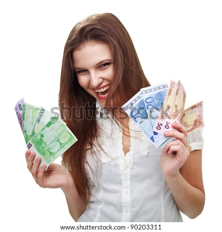 Portrait of cheerful  woman holding money - stock photo