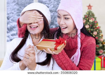 Portrait of cheerful woman wearing winter clothes giving a gift on her friend at home with christmas tree background - stock photo