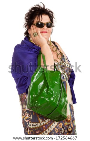 portrait of cheerful woman with her bag, isolated on white background