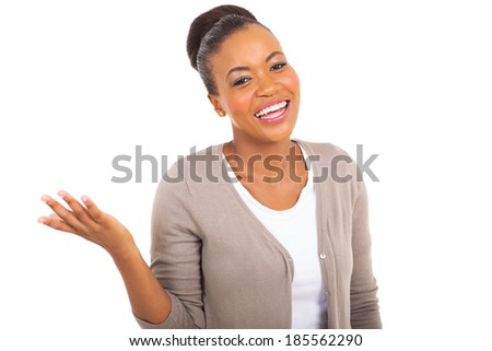 portrait of cheerful young african woman isolated on white background - stock photo