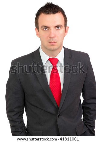 Portrait of cheerful young businessman in suite. Isolated over white.