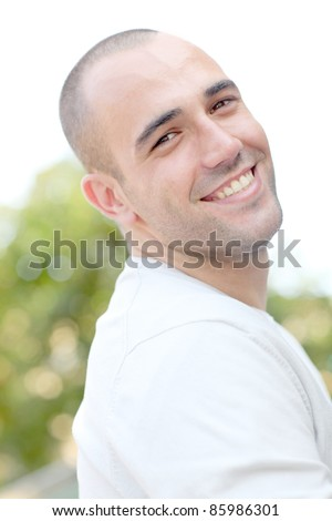 Portrait of cheerful young man - stock photo