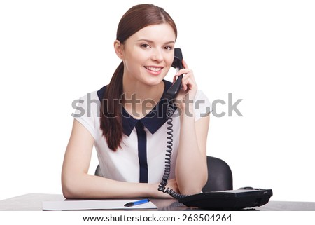 Portrait of  cheerful young support phone operator - stock photo