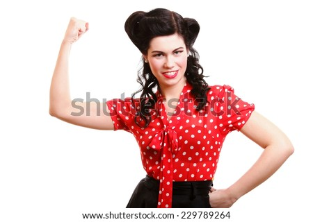 Portrait of cheerful young woman flexing her biceps isolated over white background - stock photo