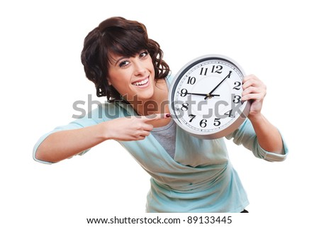 portrait of cheerful young woman with clock. isolated on white background - stock photo