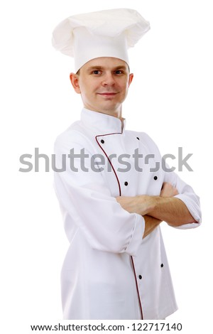 portrait of chef isolated on white - stock photo