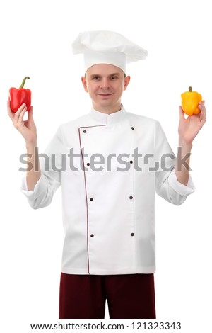 portrait of chef with pepper isolated on white