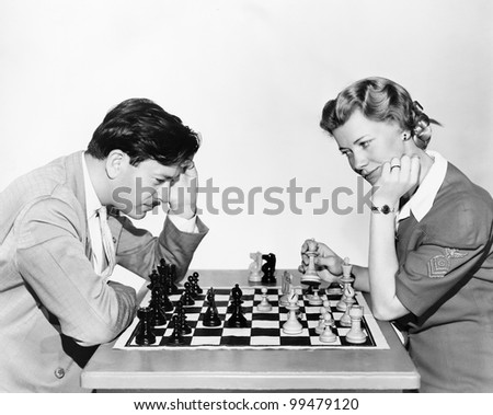 Portrait of chess players - stock photo