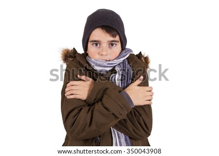 portrait of child warm in cold isolated - stock photo