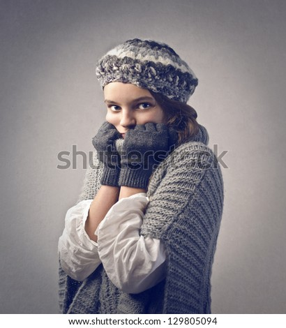 portrait of child who is cold - stock photo