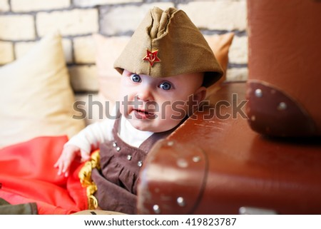 Portrait of children in military clothes boys hat USSR