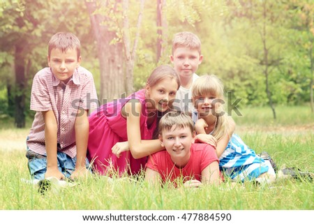 Portrait of childrens in the park