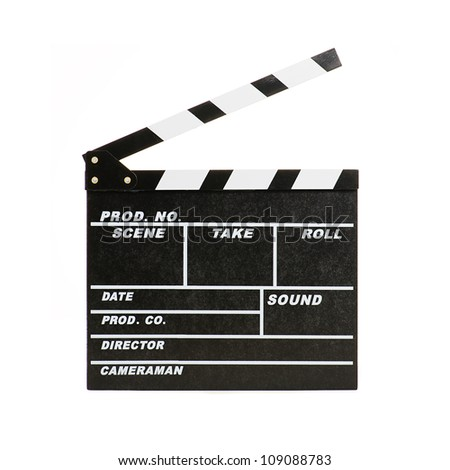 Portrait Of Clapper Board On White Background