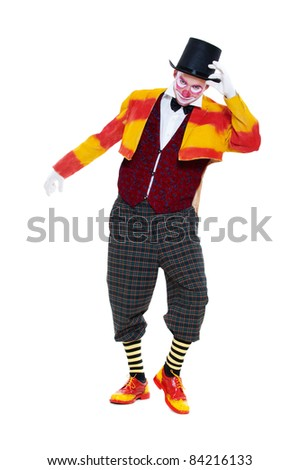 portrait of clown in top hat. isolated on white background - stock photo
