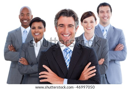 Portrait of competitive business team against a white background
