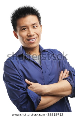 Portrait of confidence Asian young man - stock photo