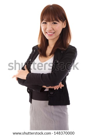 Portrait of confident arms crossed Asian businesswoman isolated on white background. Asian female model. - stock photo