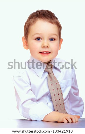 portrait of confident business child. three years old boy - stock photo