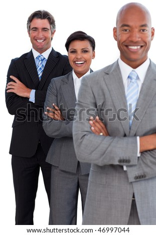 Portrait of confident business team against a white background - stock photo