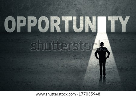 Portrait of confident businessman looking at opportunity door - stock photo