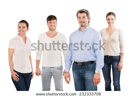 Portrait of confident businesspeople standing together over white background - stock photo