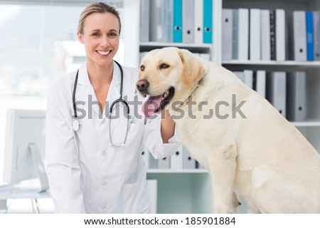 Portrait of confident female vet with dog in hospital