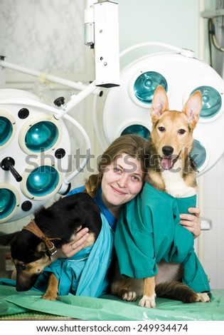 Portrait of confident female veterinarian examining dog in hospital  - stock photo
