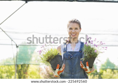 Portrait of confident gardener holding potted plants at greenhouse - stock photo