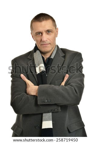 Portrait of Confident man posing on a white background