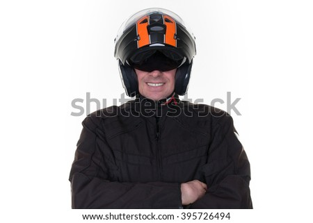 Portrait of confident man wearing  jacket and helmet against white  background.