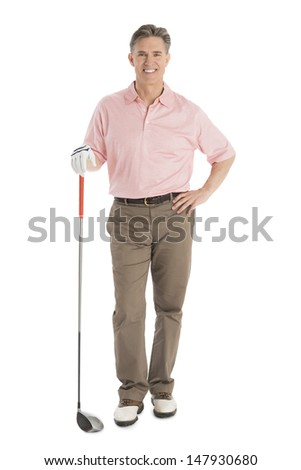 Portrait of confident mature man with golf club standing isolated over white background - stock photo