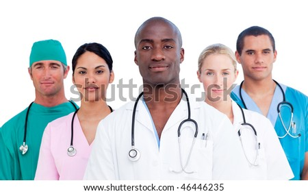 Portrait of confident medical team against a white background - stock photo